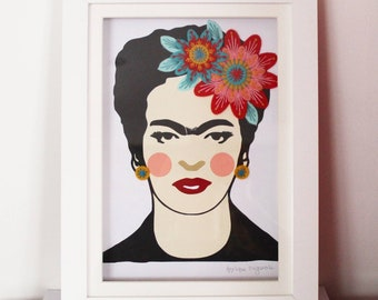 Original card and textile collage including hand embroidery, Frida Kahlo, Frida, art, textile picture, gallery wall