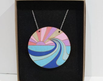 Wood necklace - coast - birthday gift - statement jewellery - Beach necklace - scandi design -hand painted- sustainable fashion