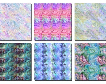 Six Large Marbled Abstract Seamless Tile DIGITAL DOWNLOADS