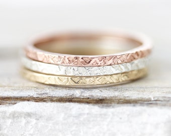 Brass Single Stacking Ring Flat Facet Hammered