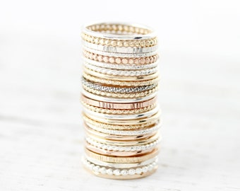 c565f99be Pick your favorite Medium stacking rings in sterling silver or gold filled  1.3mm