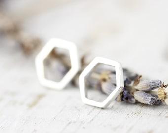 Honeycomb studs - sterling silver earrings
