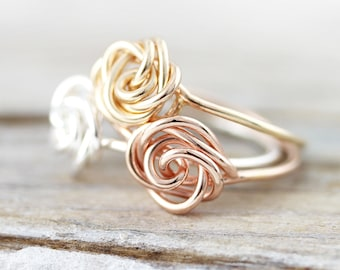 Flower ring - delicate sterling silver or gold filled