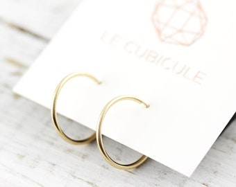 Simple hoops - silver or gold filled earrings
