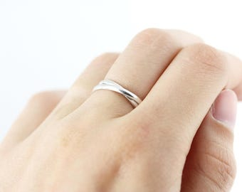 Double interlocked ring - recycled sterling silver ring