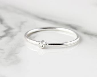 Tiny gemstone ring - recycled sterling silver ring
