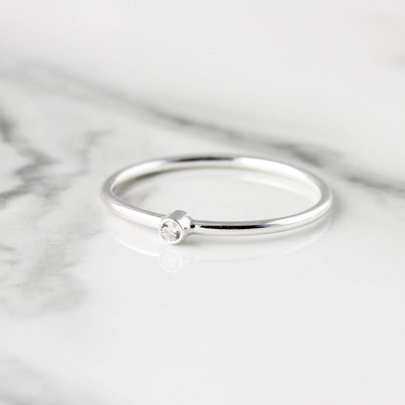 Tiny gemstone ring recycled sterling silver ring