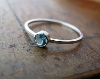 Aquamarine - sterling silver ring with bezel-set stone, march birthstone