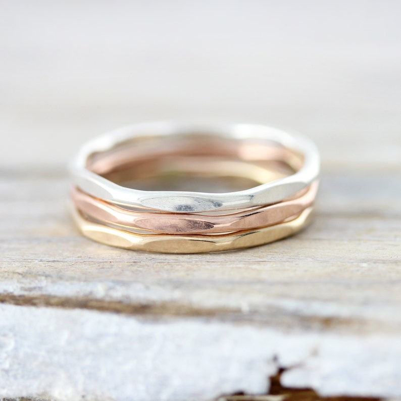 Medium Faceted stacking rings in sterling silver gold filled image 0
