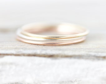 Extra thin Smooth stacking ring in sterling silver or gold filled 0.8mm
