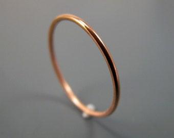 Recycled 14K yellow or rose gold ring - smooth stacking skinny ring