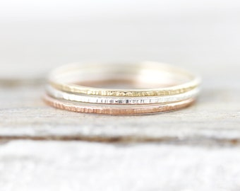 Extra thin Lined stacking ring, round edge ring in sterling silver or gold filled 0.8mm