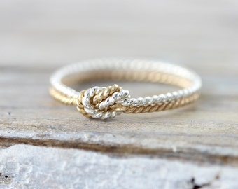 Two strand twisted knot ring - silver and gold filled ring, promise or friendship ring