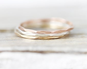 Extra thin Faceted stacking ring in sterling silver or gold filled 0.8mm