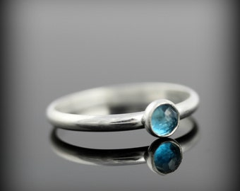 FLASH SALE - London blue topaz ring - recycled sterling silver ring with bezel set faceted gemstone, December birthstone