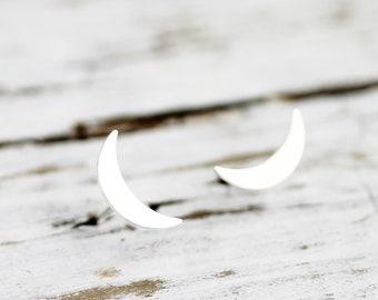 Slim moon studs - sterling silver earrings