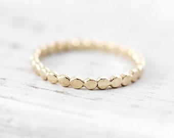 Flattened bead stacking ring in sterling silver, gold filled or rose gold filled