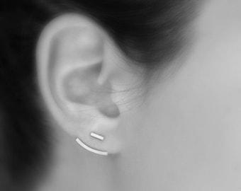 Ear jackets - sterling silver earrings - silver bar or pearl studs