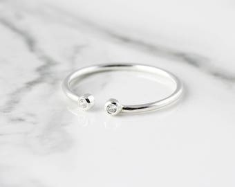 Double gemstone open ring - recycled sterling silver ring