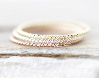 Thin Twisted stacking ring in sterling silver or gold filled 1mm
