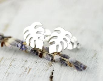 Monstera leaf studs - sterling silver earrings