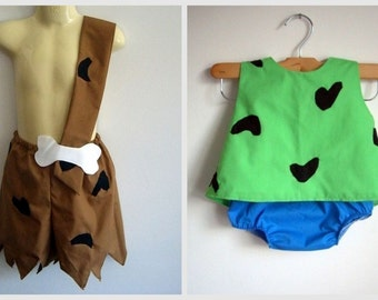 Pebbles and Bam Bam Costumes - girl - boy - clothing - costume - Halloween