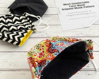 Origami Mask 3D Face Mask Sewing Pattern - DIGITAL DOWNLOAD