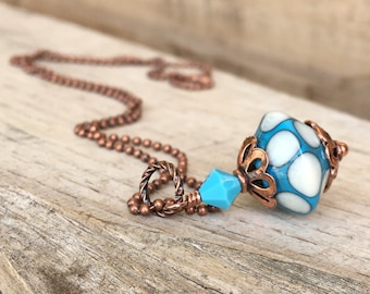 Lampwork glass necklace, Turquoise and ivory lampwork and copper pendant necklace