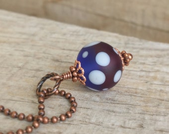 Lampwork glass necklace, Purple fusion lampwork and copper one a a kind pendant necklace