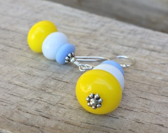 Summer Stack Vintage Glass Earrings yellow white blue