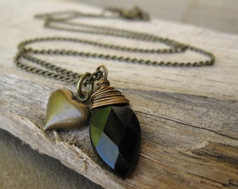 Black heart onyx marquis and brass heart necklace