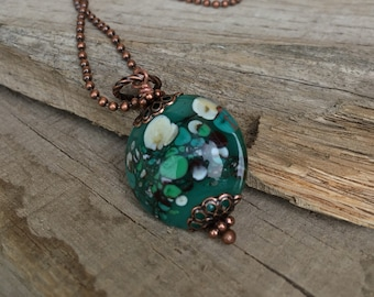 Lampwork glass necklace, Into the Lily pond, handmade lampwork pendant necklace in copper, earth tones, green