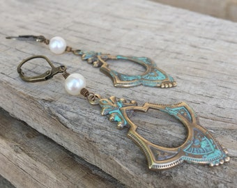 Natural Brass and freshwater Pearl Art deco Verdigris Earrings, Patina