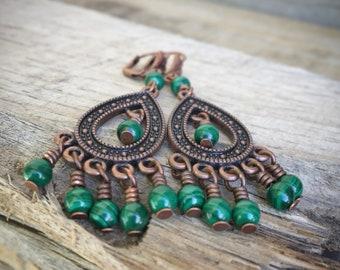 Green Gypsy Malachite And Copper chandelier Earrings