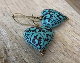 Turquoise Victorian romance heart earrings autumn wedding peacock blue