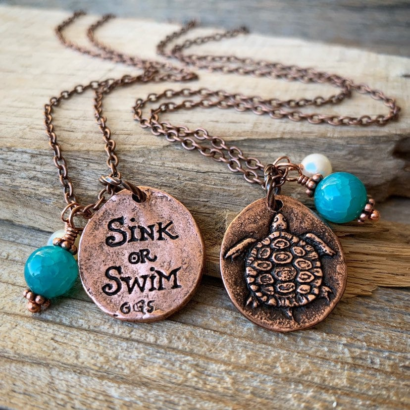 Hand painted Bronze Turtle Sea Ocean PURPLE gemstone Pendant Necklace wchain
