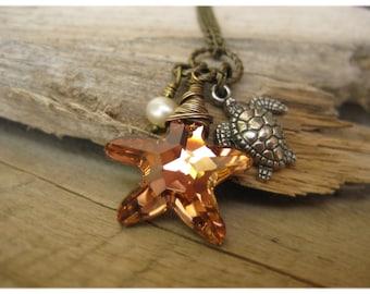 Swarovski Starfish pearl Sea Turtle Necklace on brass cluster