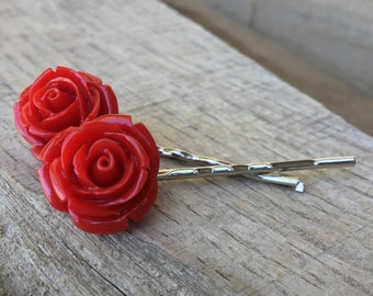 Red rose Bobby pins, Hairpins, wedding accessories, bridesmaid, handmade gift, love, cherry red rose