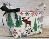 Christmas Holiday Xmas - Storage Organization Container Bin Organizer Basket - Forest Woodland Animals Moose Bear Deer Nordic Fabric