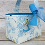 Halloween Trick Treat Bag Basket Bucket - Alice in Wonderland Fabric -  Toile Camelot - Name Tag Applique Available