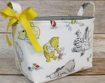 Storage Organization - Winnie the Pooh Eeyore and Tigger on White Fabric - Medium Size Fabric Bin Storage Container Basket - Baby Room Decor