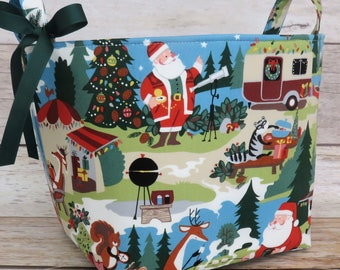 Large Storage Organization - 10 in x 10 in x 10 in - Santa Goes Glamping/ Camping Fabric Container Basket Bucket Bin
