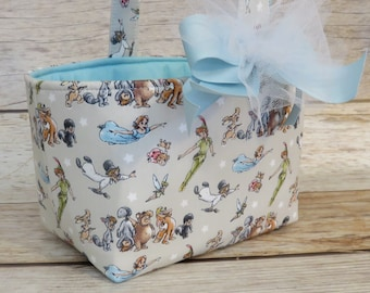 Halloween Candy Trick Treat Basket Bucket Storage Container Bin - Peter Pan Wendy Fabric - Personalized Name Tag Applique Available