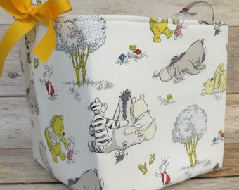 Large Storage Organization - 10 in x 10 in x 10 in - Winnie Pooh Eeyore Tigger White Fabric Container Basket Bucket - Baby Room Decor