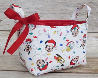 Mickey and Friends Faces with Christmas Lights - Holiday Gift Basket - Storage Organization - Fabric Organizer Container Bin Basket