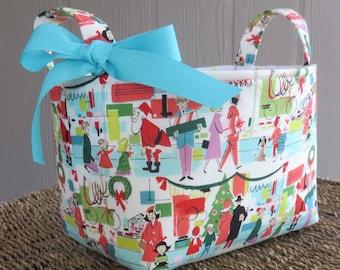 Retro Christmas Holiday Winter Decor - Fabric Storage Organizer Bin Basket - Merry Main Street Fabric