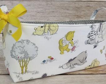 Long Diaper Caddy - Storage Container Basket Fabric Organizer Bin - Winnie the Pooh Eeyore Tigger on White Fabric - Baby Room Nursery Decor