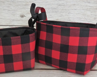 Set of 2 - Storage Fabric Organizer Bins Container Baskets - Black Red Buffalo Checks Plaid Gingham Fabric -