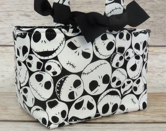 Halloween Trick or Treat Tote Candy Bag Basket Bucket - Skulls Nightmare Jack Skellington Fabric - Personalized Name Tag Applique Available