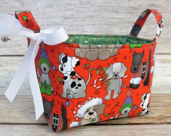 Storage and Organization - Fabric Organizer Container Bin Basket - Glitter Dogs Puppies Puppy Dog on Red - Christmas Xmas Holiday Fabric